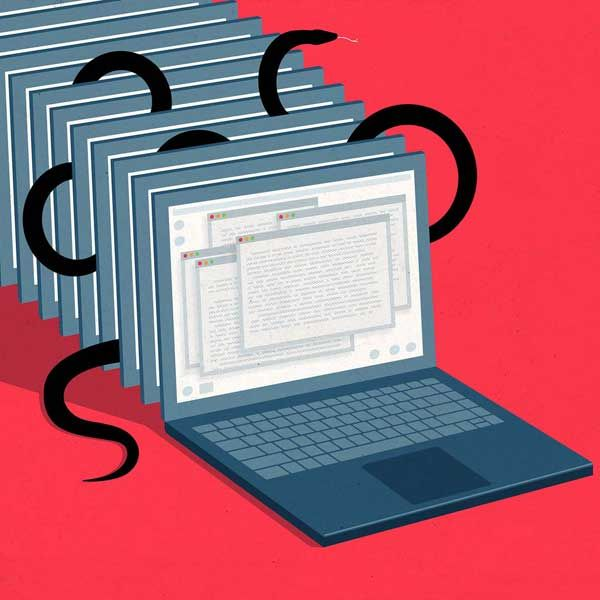 Illustration of a laptop screens with snakes between them.