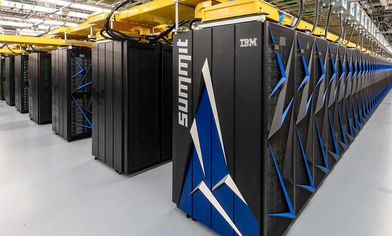 Photograph of the Summit supercomputer at Oak Ridge National Laboratory.