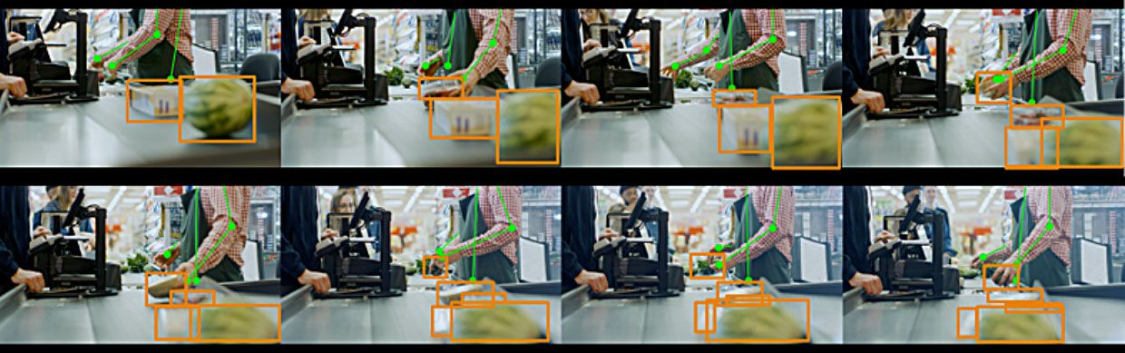 Example of real time object tracking in video frames.