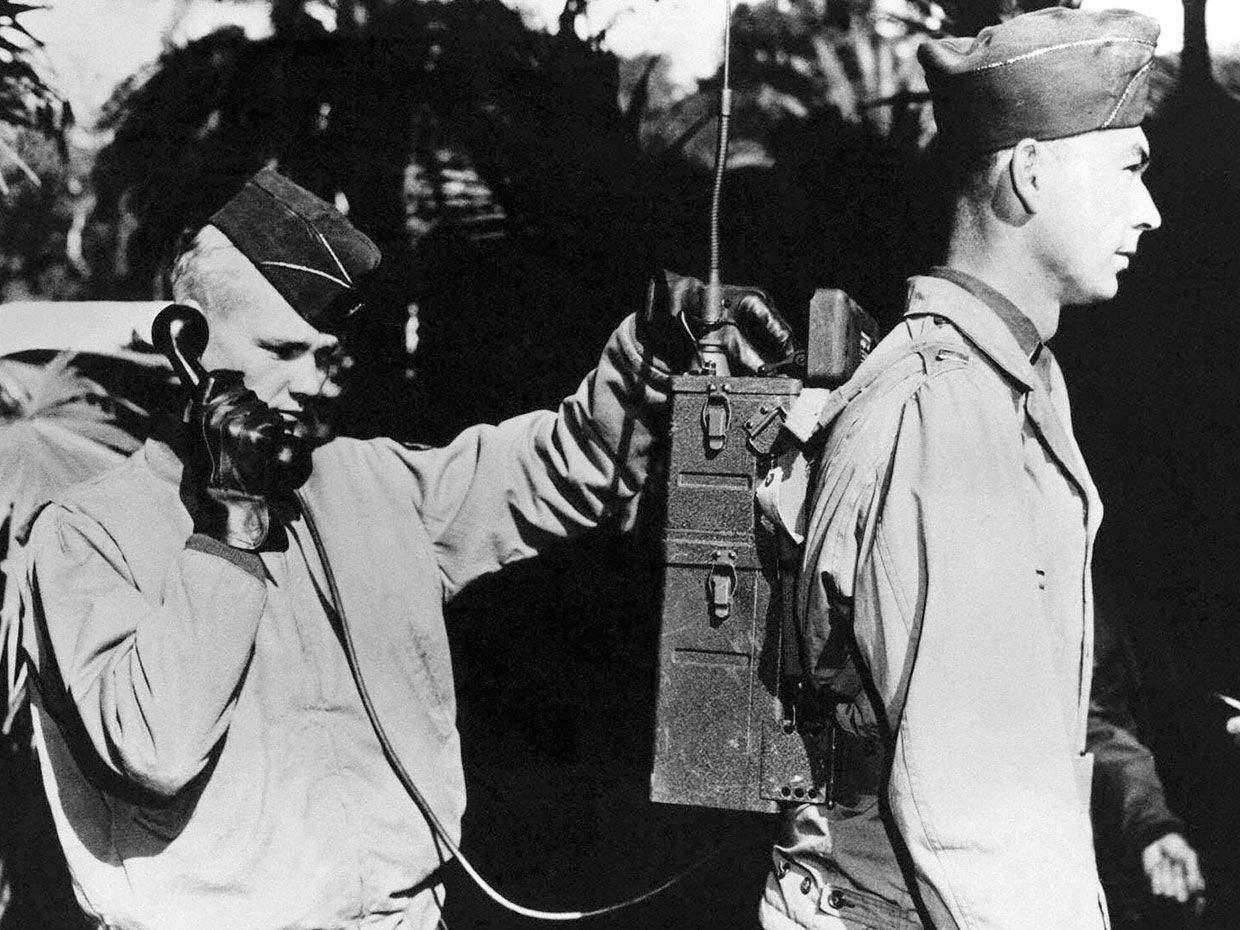 1943 photo showing soldiers using the SCR-300 radio.