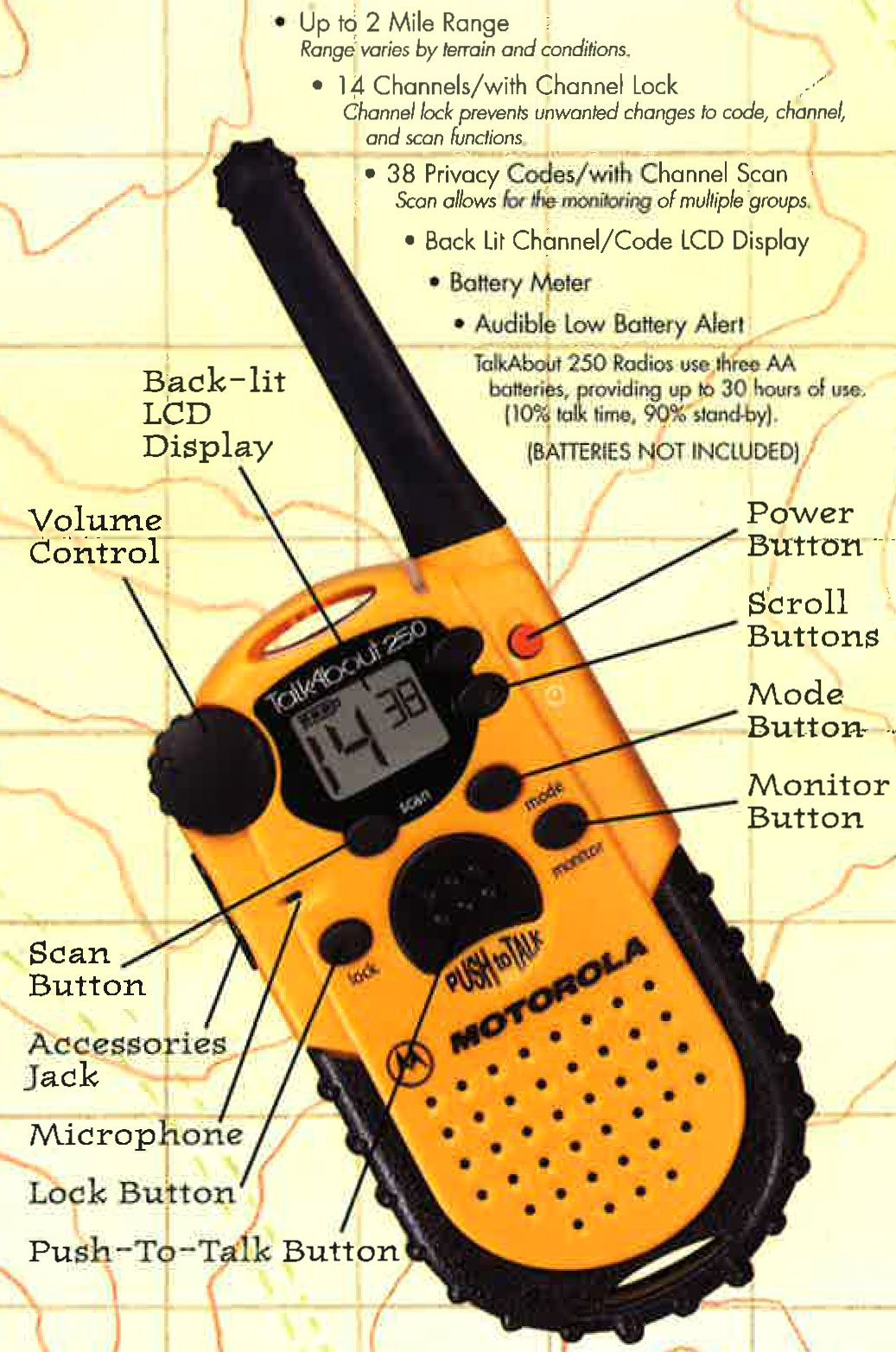 A late-1990s sales pamphlet for the Motorola Talkabout T-250.