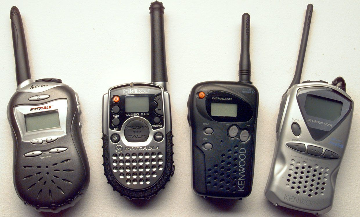 A selection of four two-way FRS radios available around 1999.