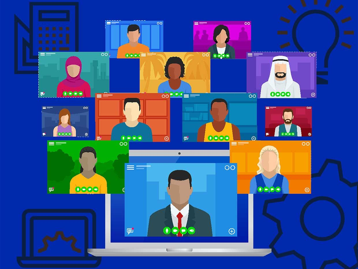 Illustration of people on video with technical icons
