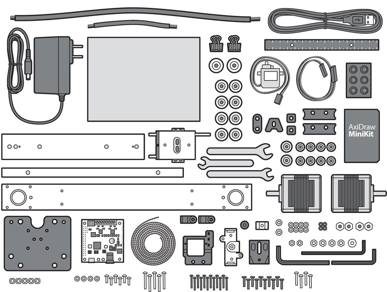 Illustration of the parts of the AxiDraw MiniKit.