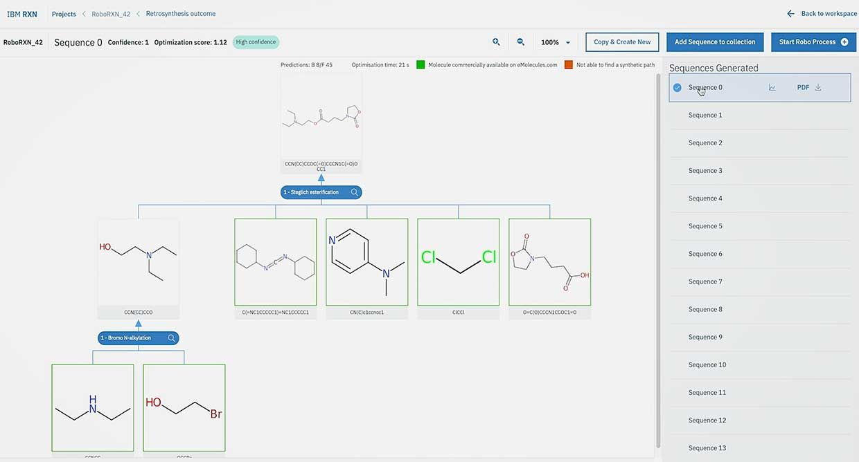IBM RXN helps predict chemical reaction outcomes or designing retrosynthesis in seconds.