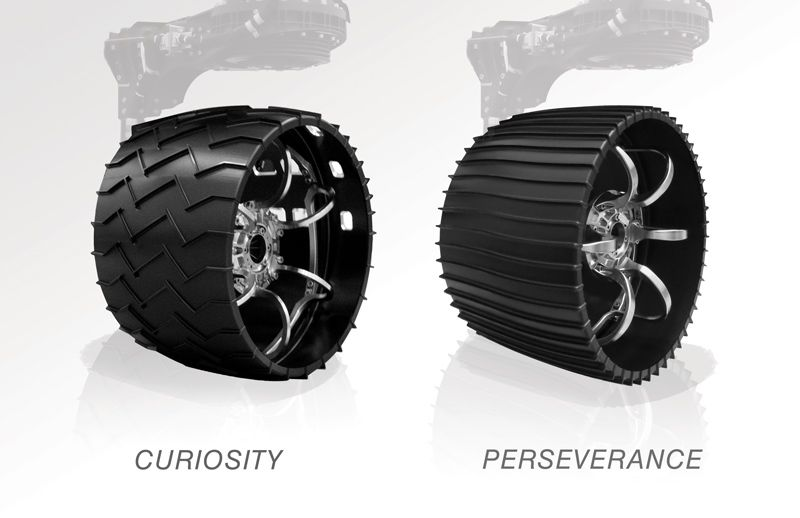 A comparison between Curiosity and Perseverance wheels.