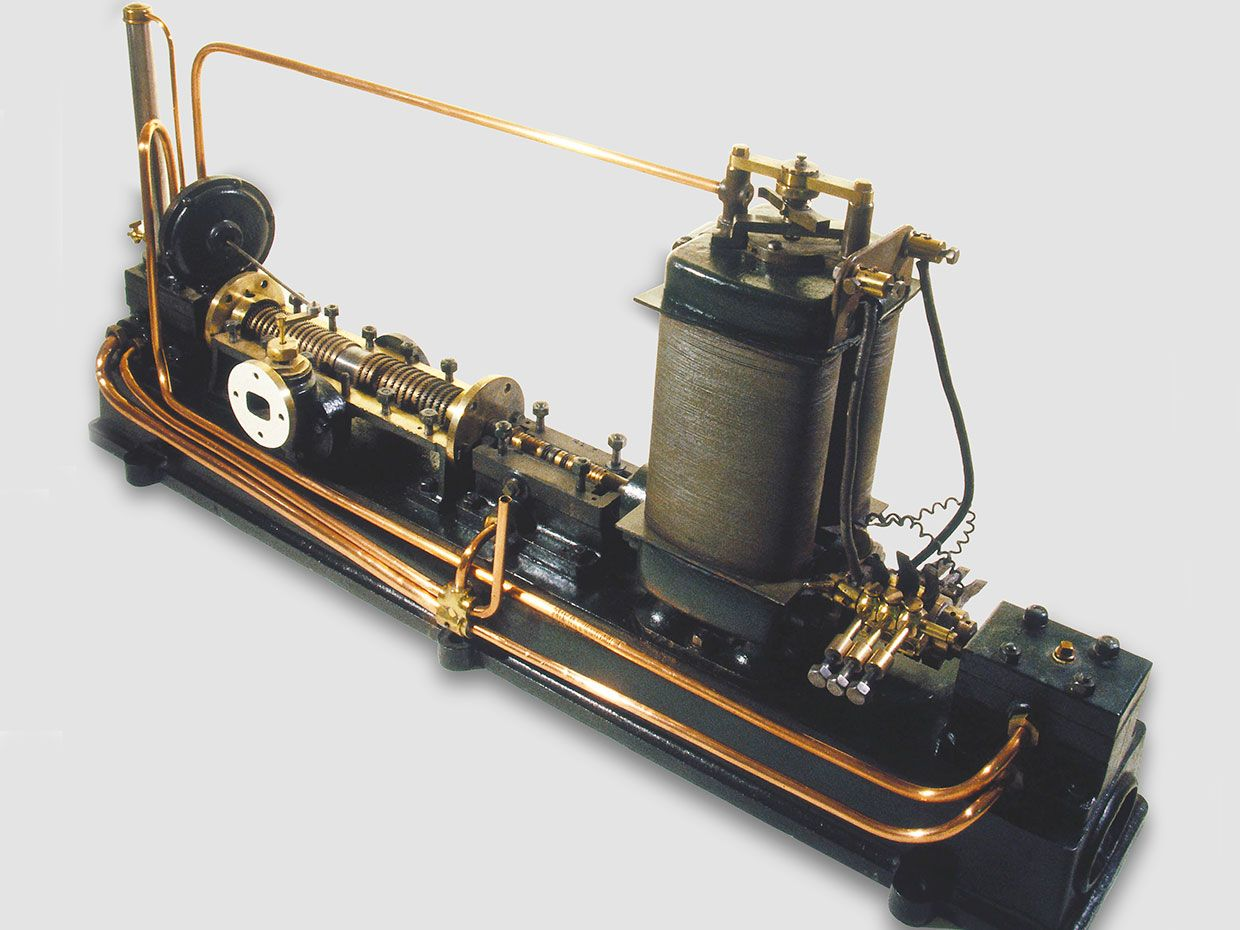 First prototype of Parsons' modern steam-turbine generation.