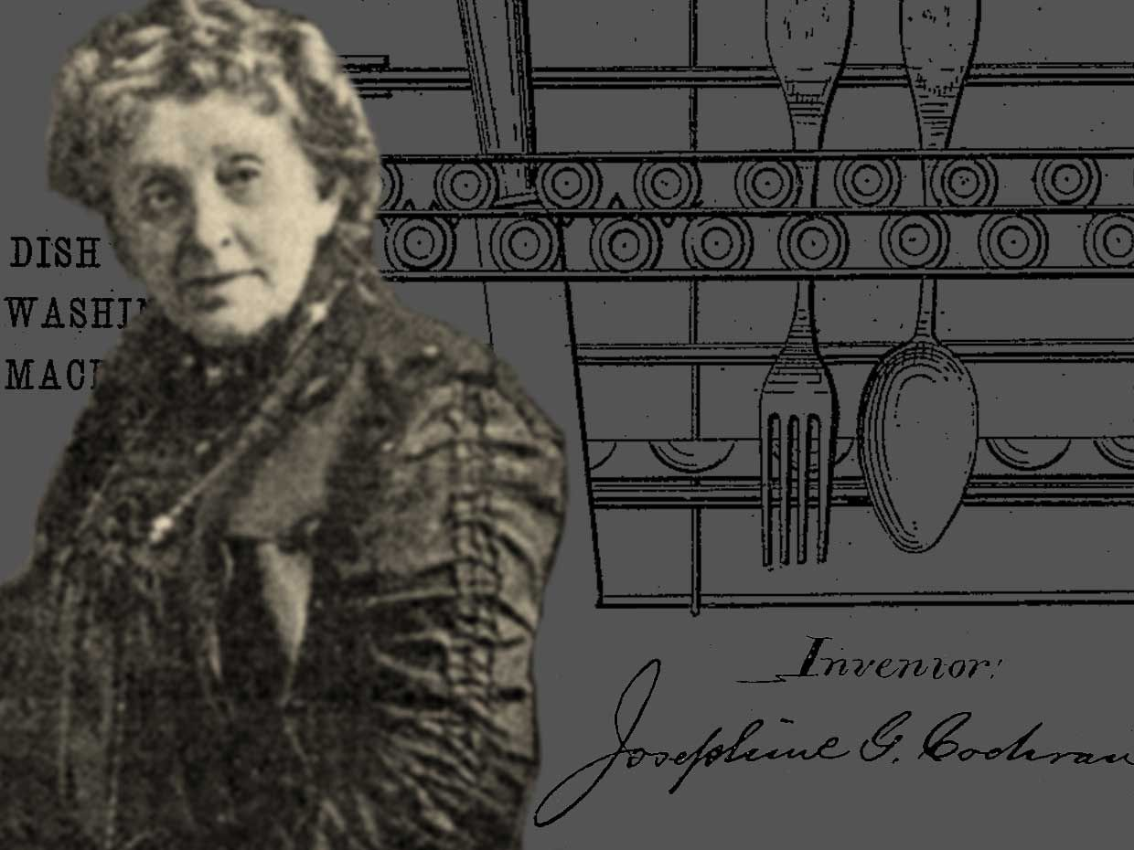 Photo-illustration of Josephine Cochran and the patent for her dish washing machine.