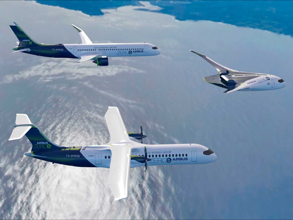 Airbus shows its three ZEROe carbon-neutral concept aircraft in formation in this artist's rendition.