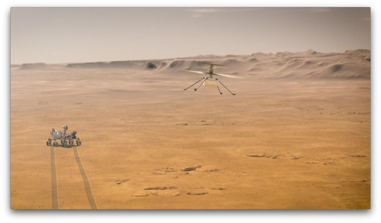 This illustration depicts Mars Helicopter Ingenuity during a test flight on Mars.