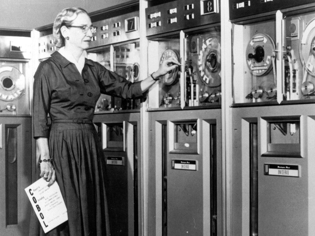 A publicity shot of Grace Hopper advertising the Common Business Oriented Language (COBOL), a more user-friendly computer language, 1952.