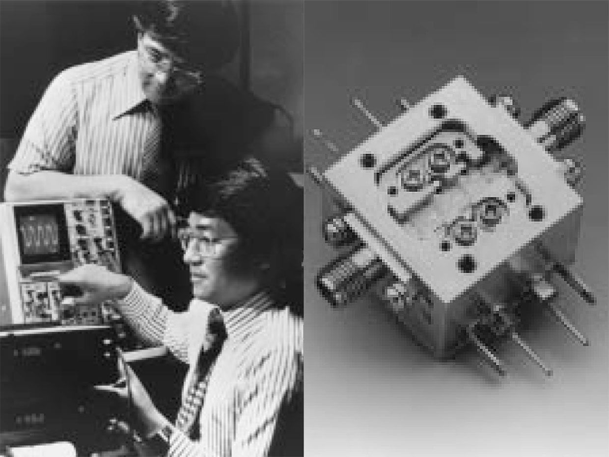 Satoshi Hiyamizu (left) and Takashi Mimura of Fujitsu testing the first HEMT IC. On the right is the first commercial HEMT: a cryogenic low-noise amplifier for the radio telescope at Nobeyama Radio Observatory, Nagano, Japan.