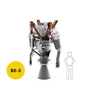 Scale of the BE-3 compared to an icon of a human being.