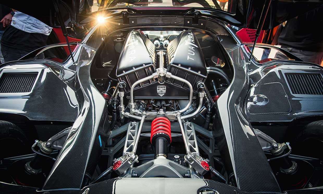 The Tautara's beating heart is a mid-mounted, twin-turbo V-8 that makes 1,750 horsepower on E85 gasoline-ethanol fuel.