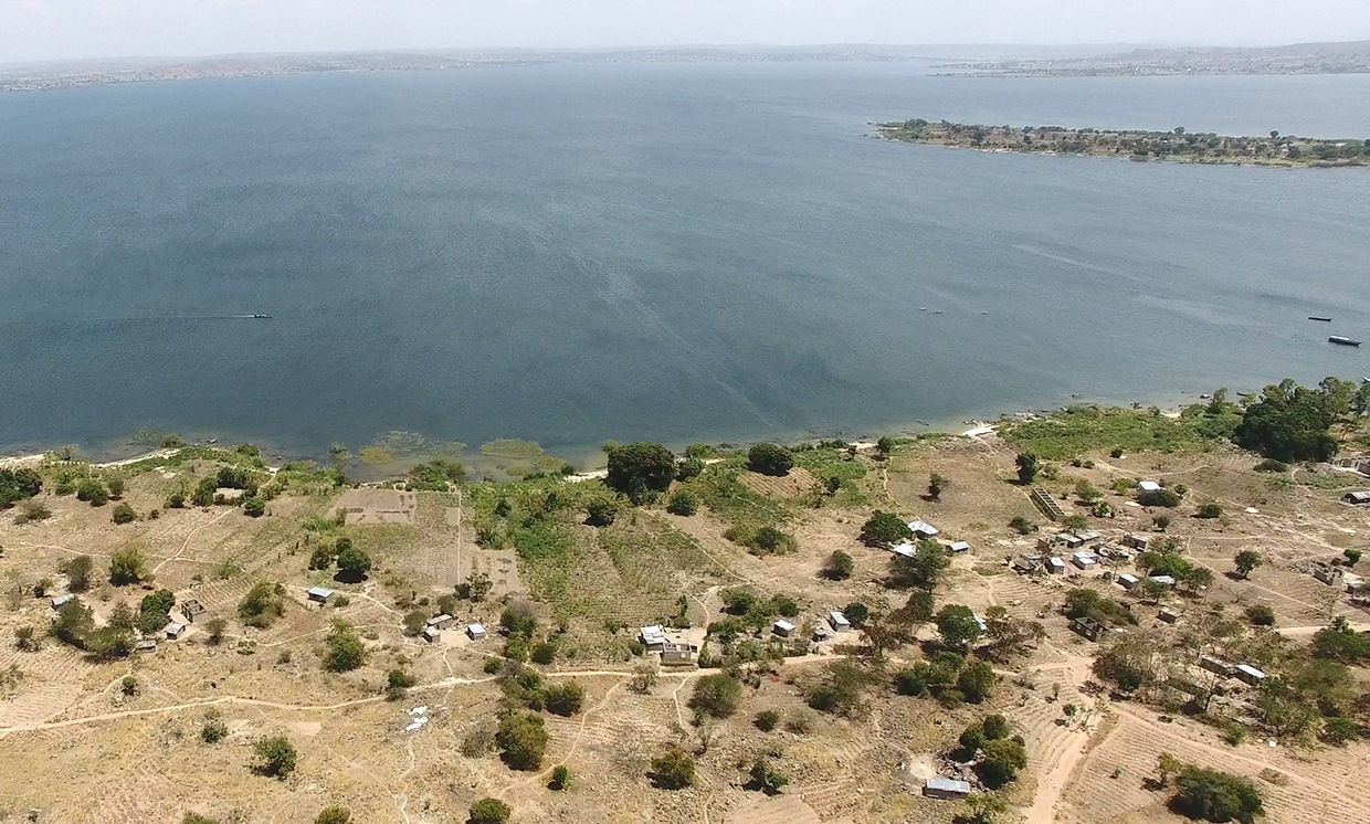 Overhead shot looking out toward the islands of Lake Victoria.