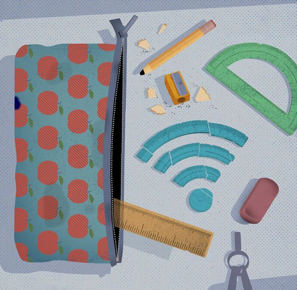 Image of school supplies and a broadband signal.