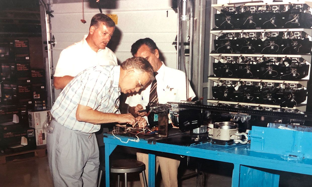 Colin Willmott [foreground] tests the pioneering safety system.
