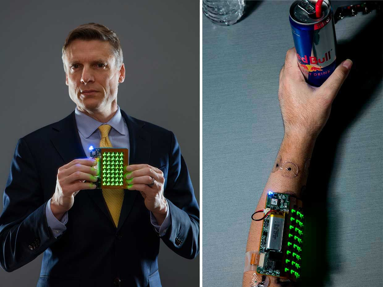 Photos of a man holding a device and a a photo of a device on the arm.