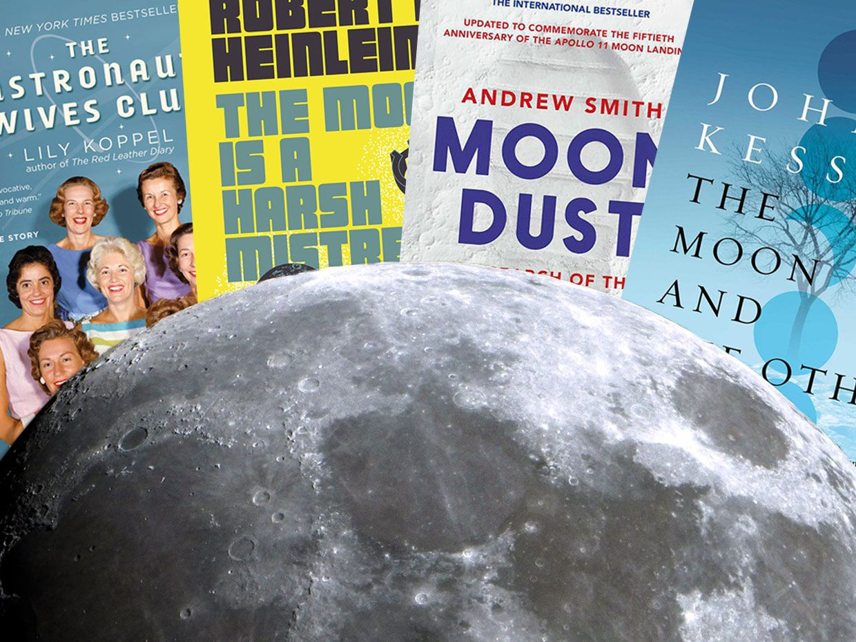 Photo-compilation of the moon and four book covers.