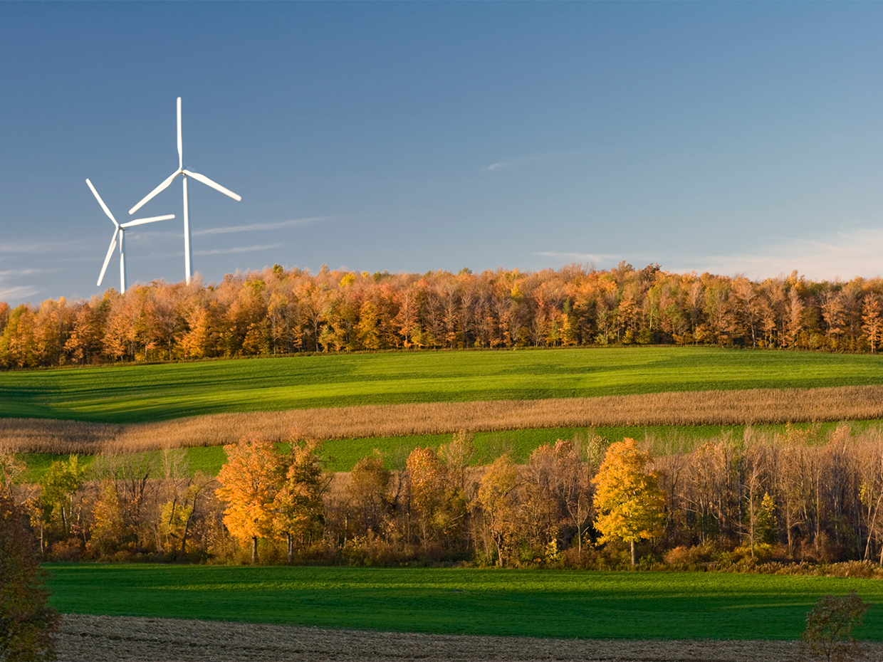 Image of New York state landscape with a wind mill.