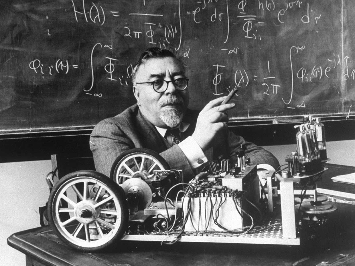Portrait of Professor Norbert Wiener, American mathmematician who founded cybernetics, in classrom at MIT.