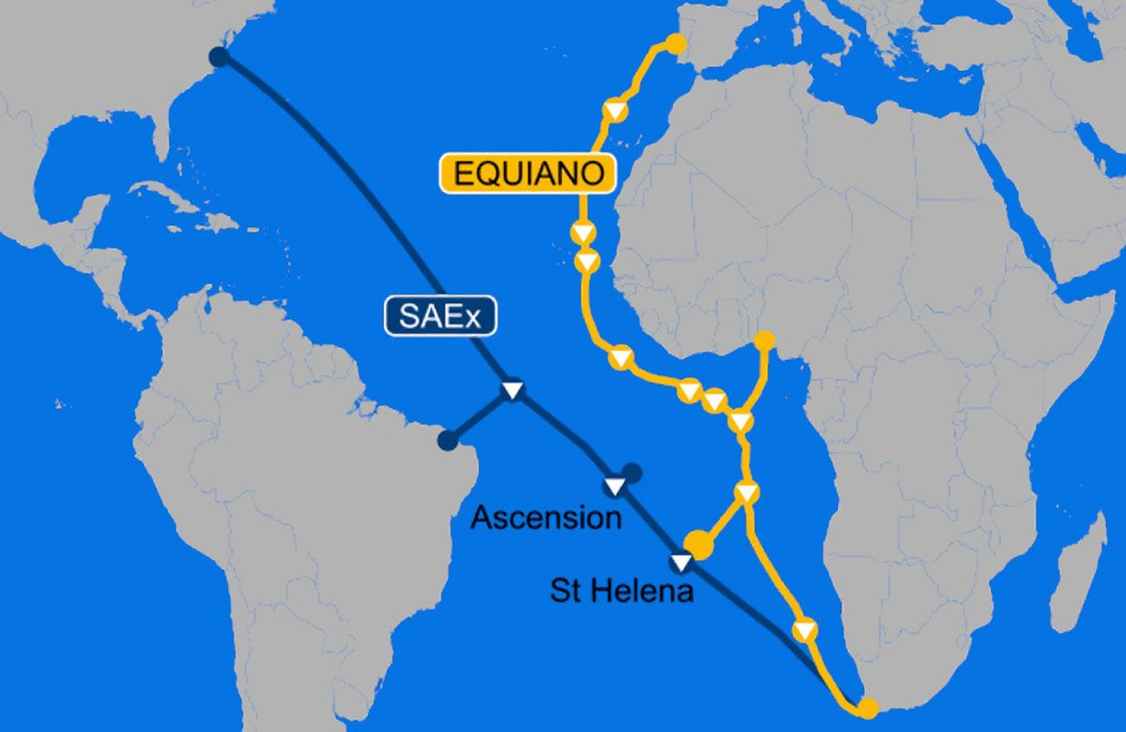 Map showing the planned Equiano cable route, including Saint Helena
