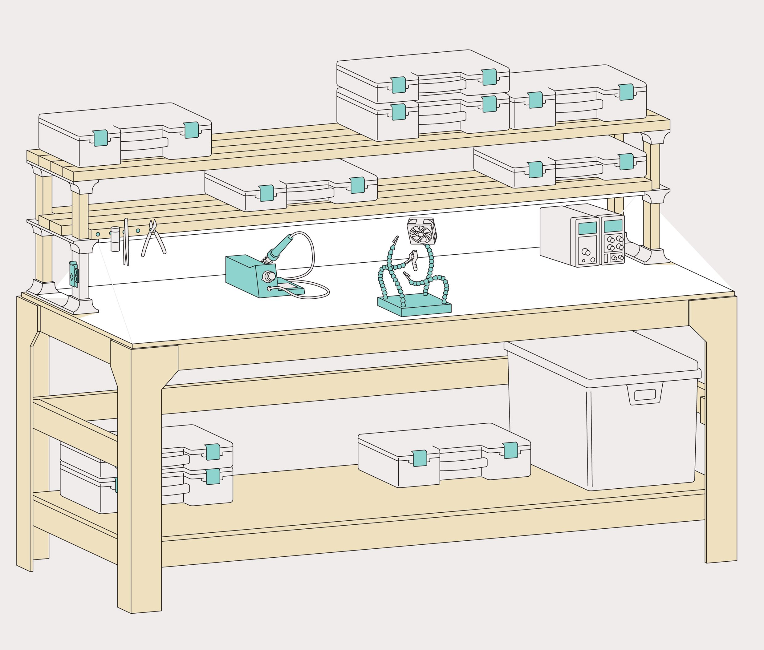 Illustration of a workbench.