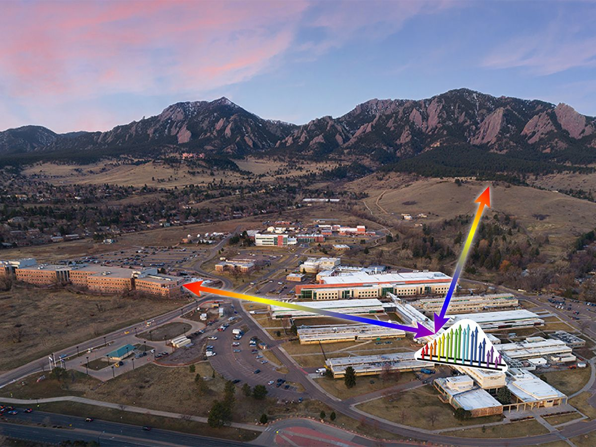 Illustration of a NIST laser frequency-comb instrument over a photo of a NIST building in Boulder, Colorado.