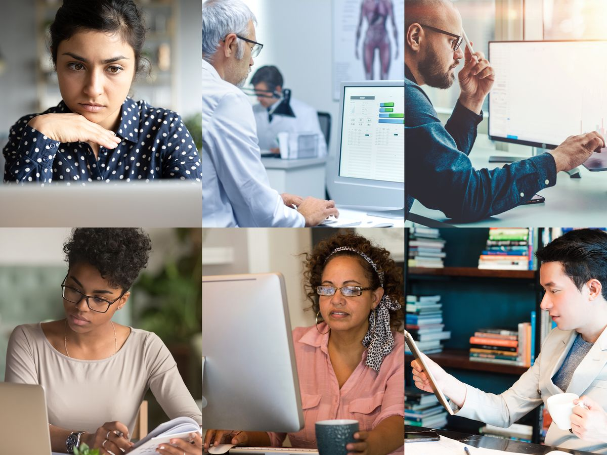 photo collage of 6 people working