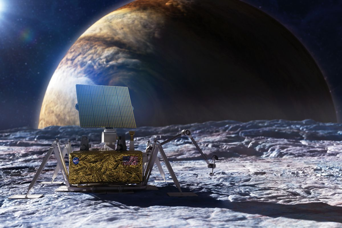 Illustration of an antenna on a moon with Jupiter in the background.
