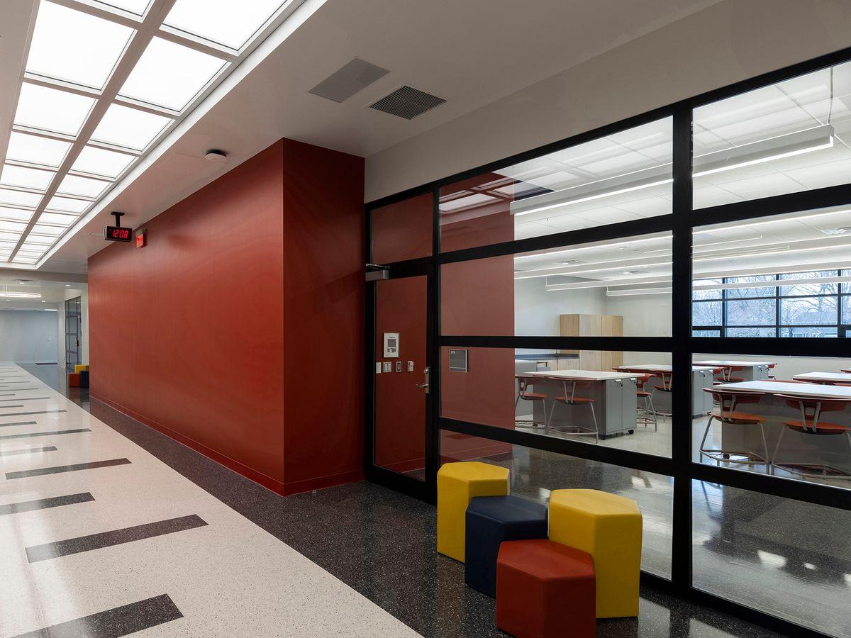 Photo of a school corridor