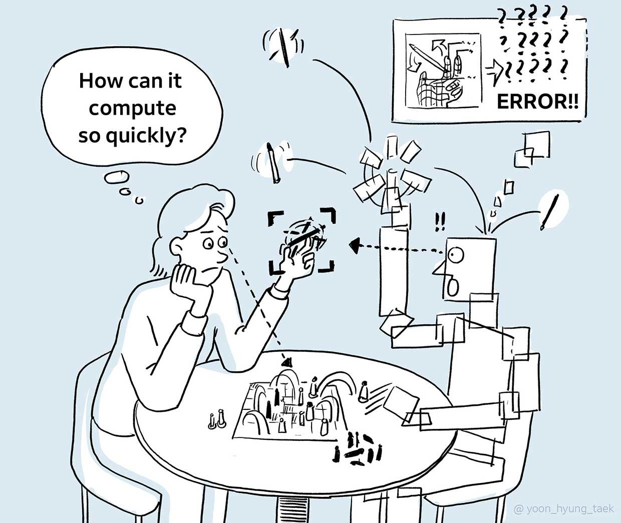 illustration of a woman wondering how a robot can compute so quickly