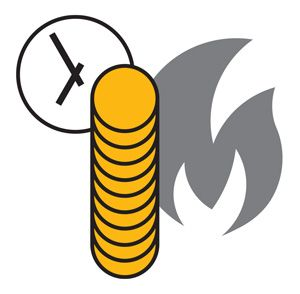 Image of stacked coins and fire.