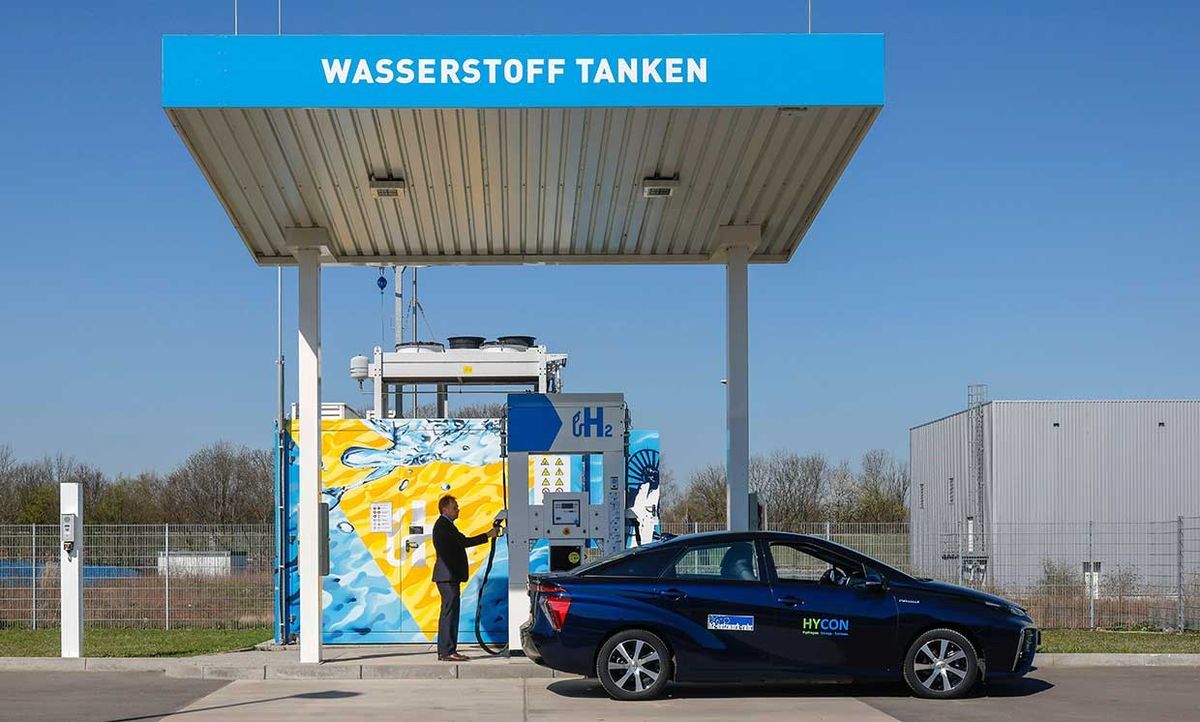 At a hydrogen refueling station in North Rhine-Westphalia, Germany, a motorist filled the tank of a Toyota Mirai, one of the very few fuel-cell powered cars on the market.