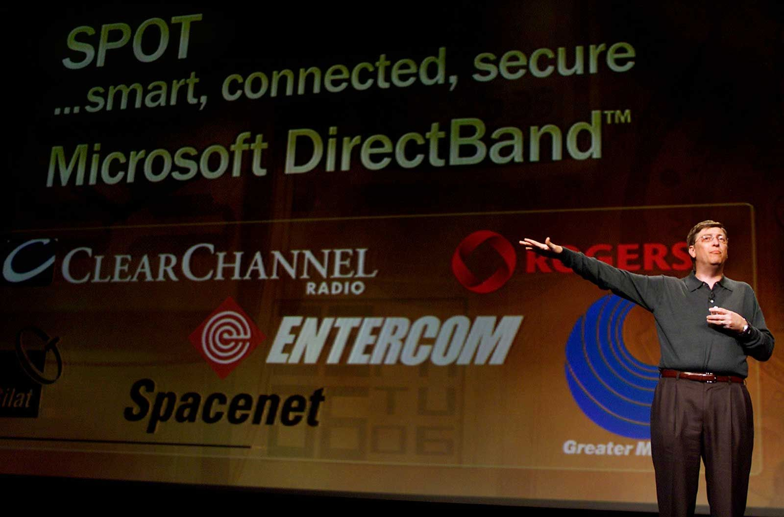 Bill Gates at CES in 2003, unveiling the next big thing.