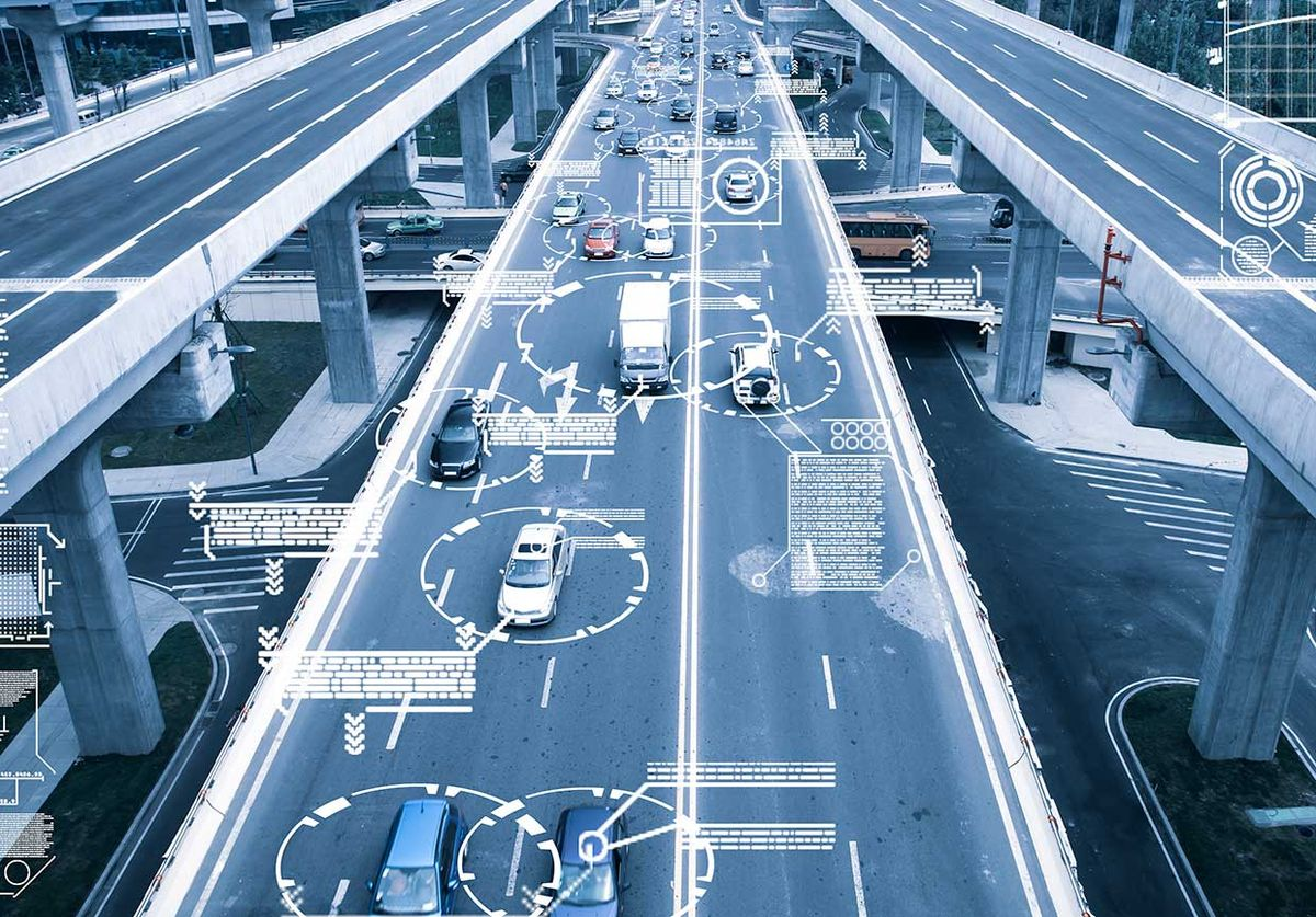 Photo-illustration of connected cars