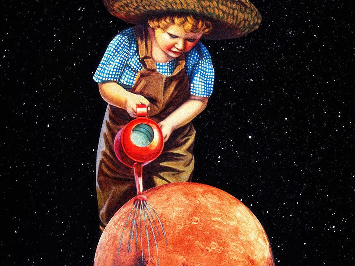 A farmer boy watering a planet in space.