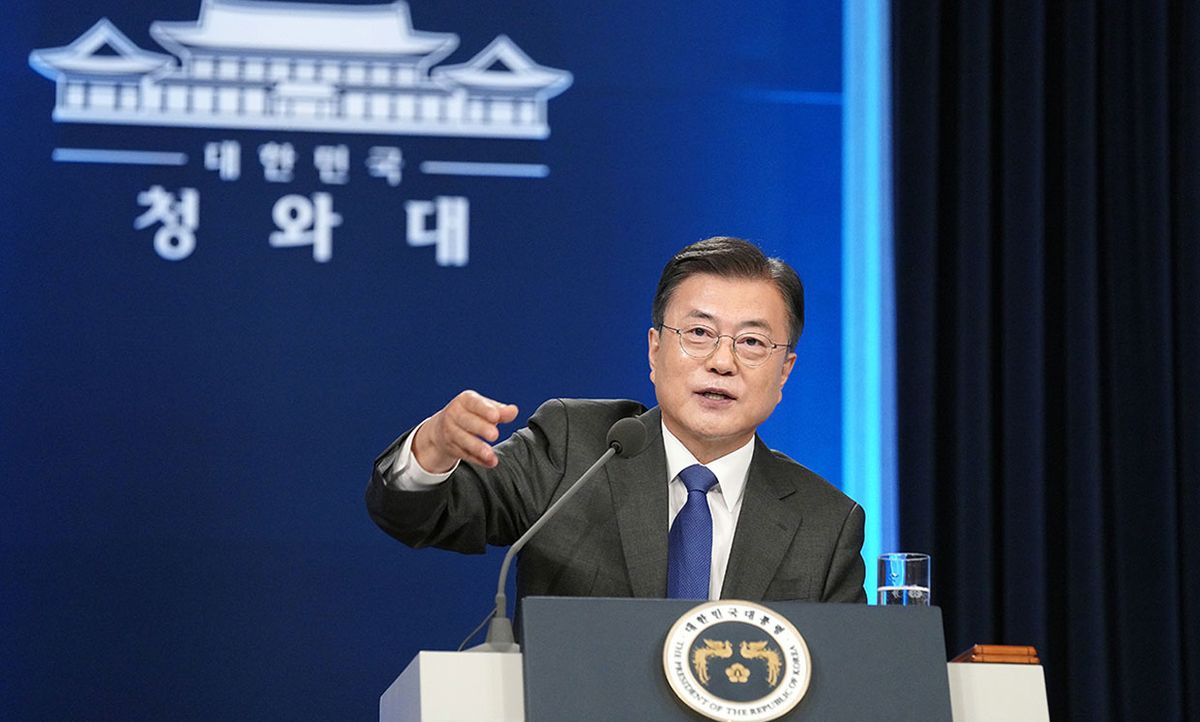 South Korean President Moon Jae-in delivers a special address to mark the fourth anniversary of his inauguration at the presidential blue house on May 10, 2021 in Seoul, South Korea.
