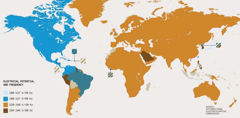 Mapa do Mundo do Potencial Elétrico e Frequência