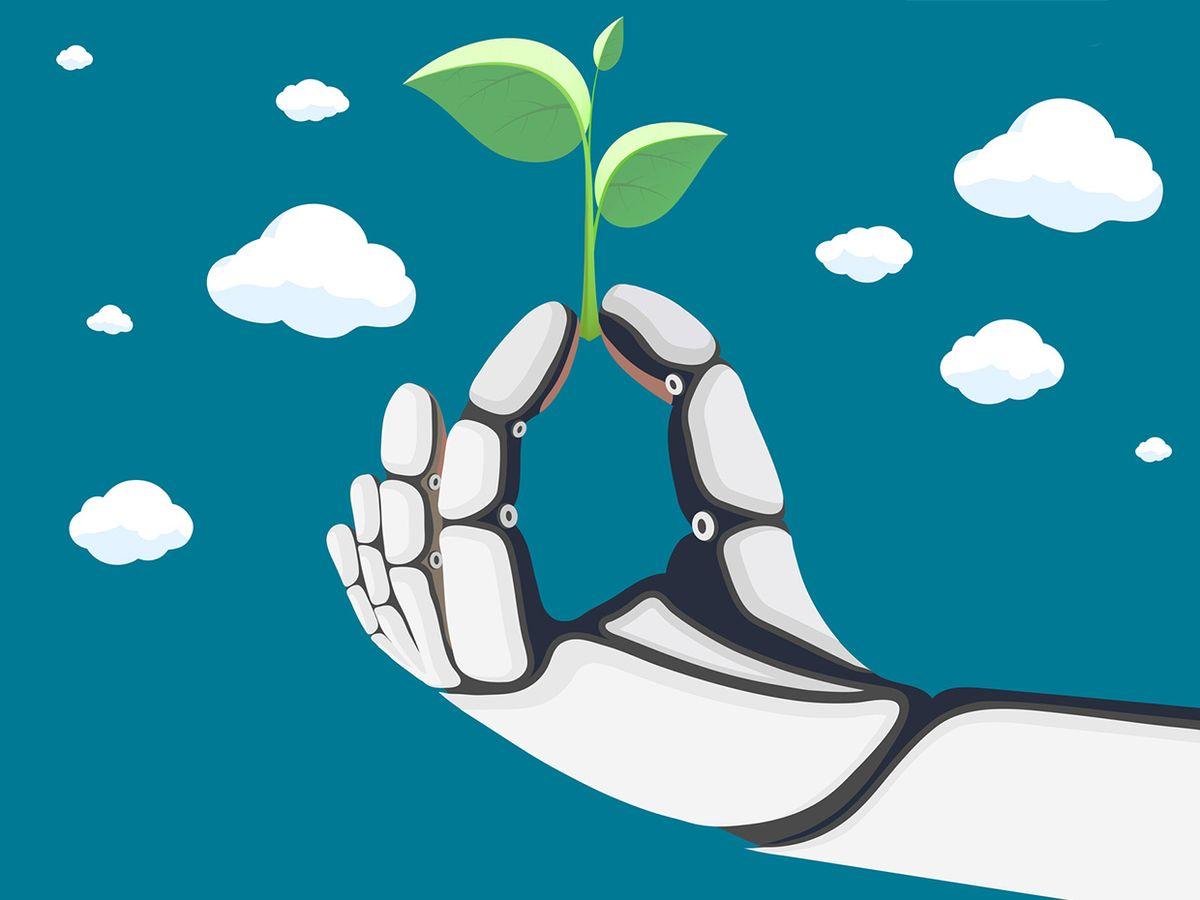 robot holding plant