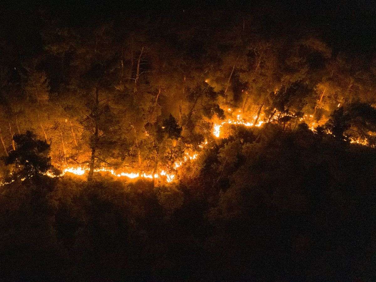 A drone photo shows the wildfire in Menderes district of Izmir, Turkey on August 01, 2020.