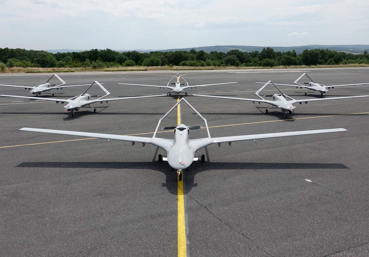 Image of Turkey's Bayraktar TB2 on a airfield.