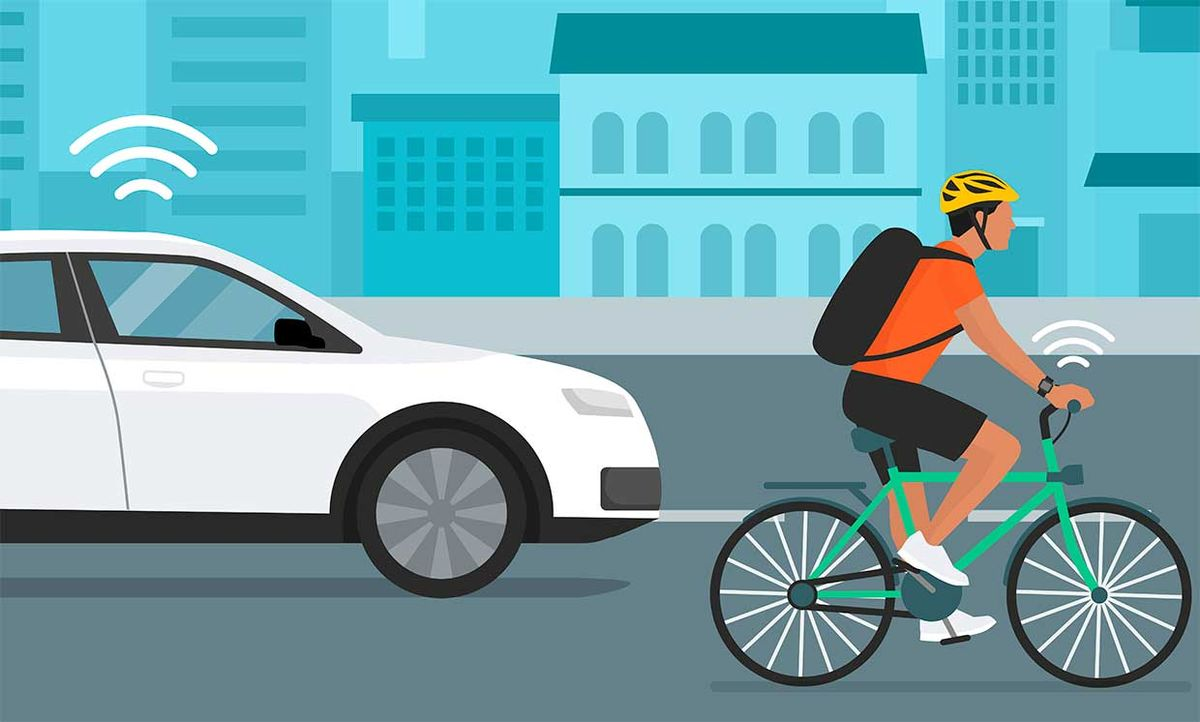 Illustration of a car and a bike