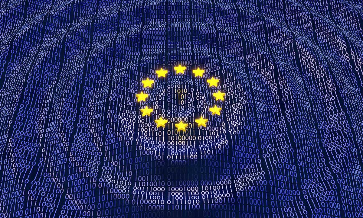 EU flag with binary numbers
