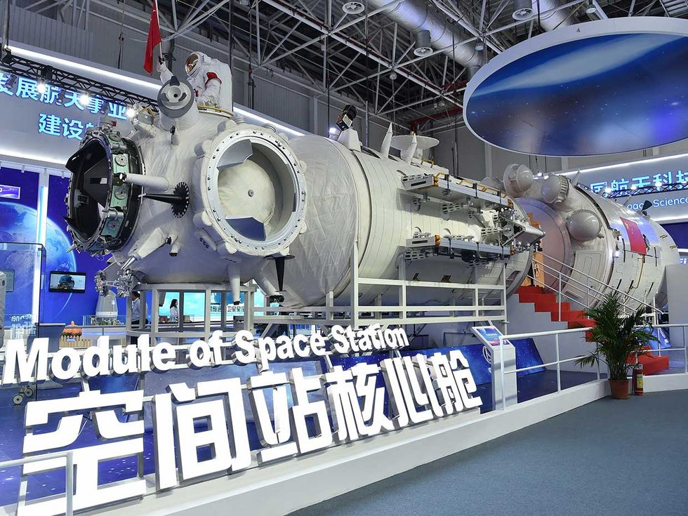 2018 photo of a full-size model of the core module of China's space station Tianhe