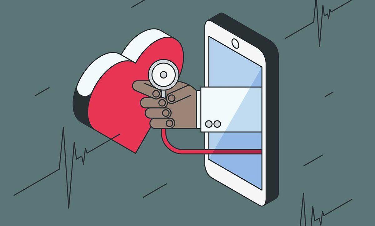 Illustration of a phone, stethoscope, heartbeat symbols