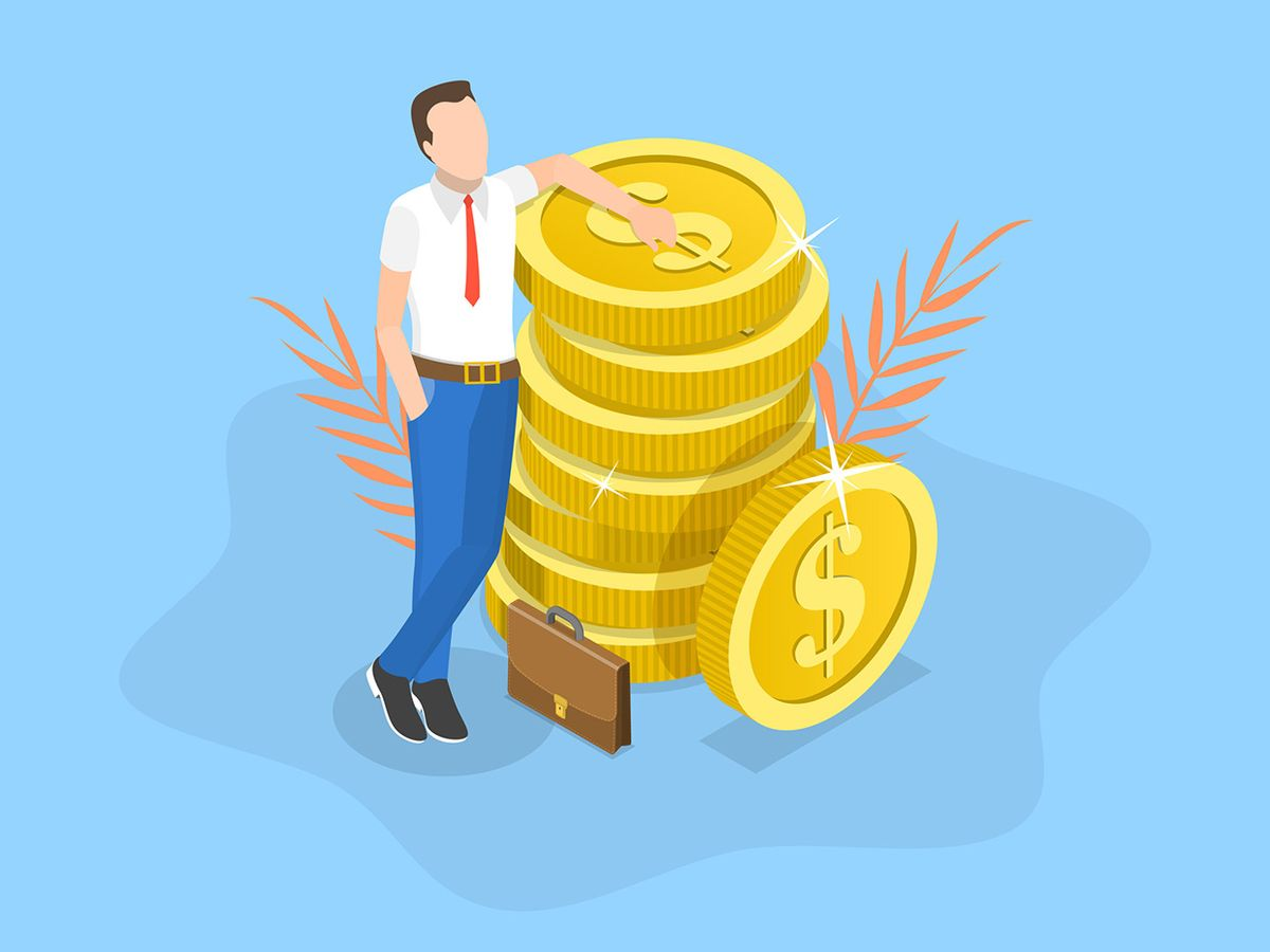 man leaning on coins