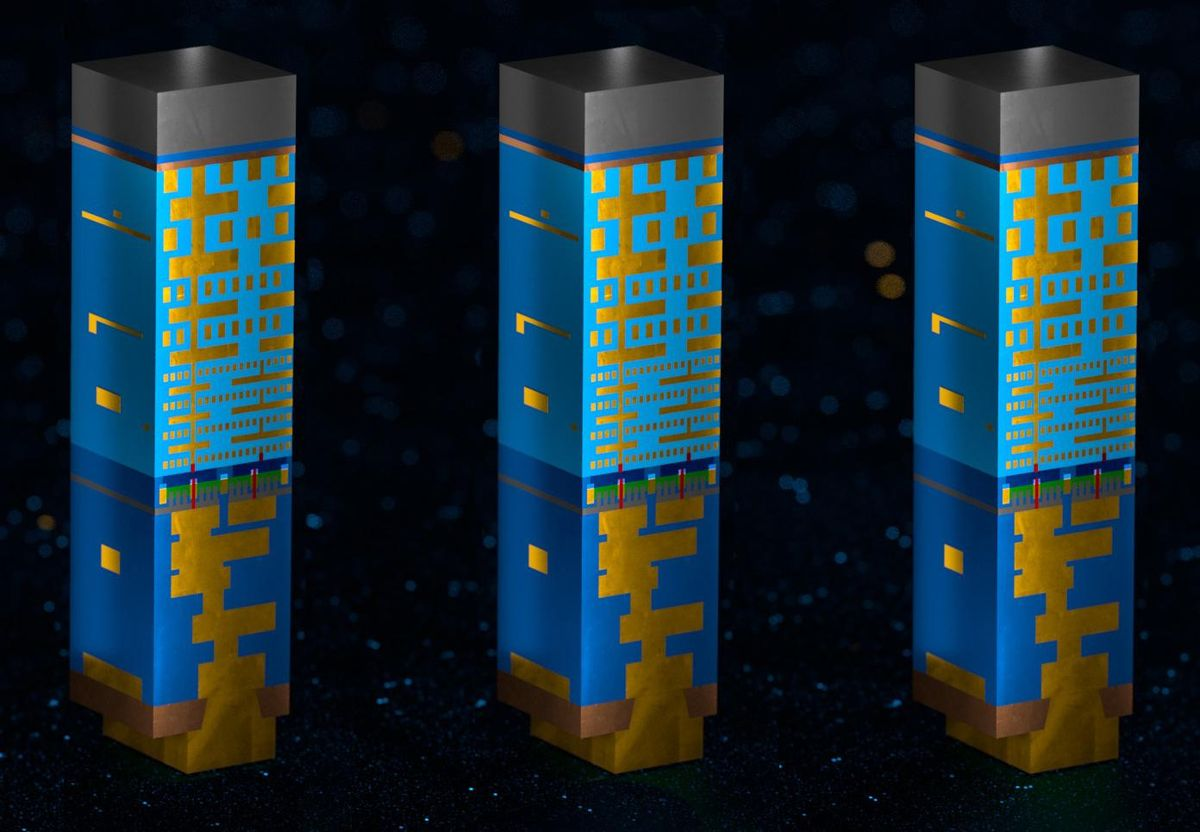 3 side by side blue and gold illustrations of Intel's PowerVia backside power delivery network implementation.