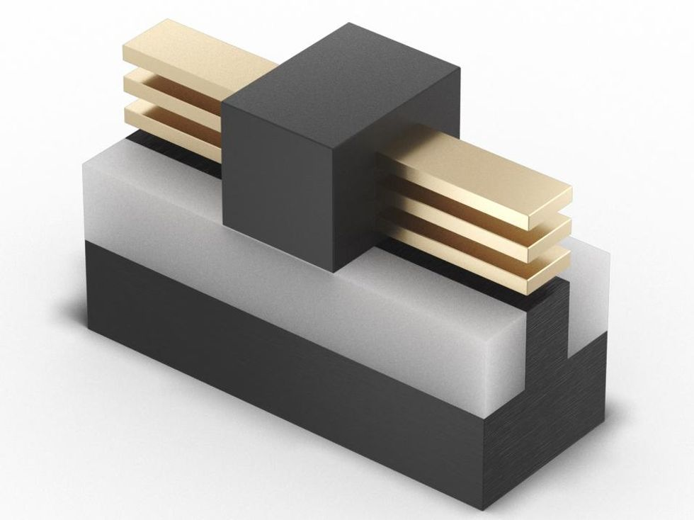 Illustration of Intel's new RibbonFET technology, the company's implementation of a gate-all-around transistor.