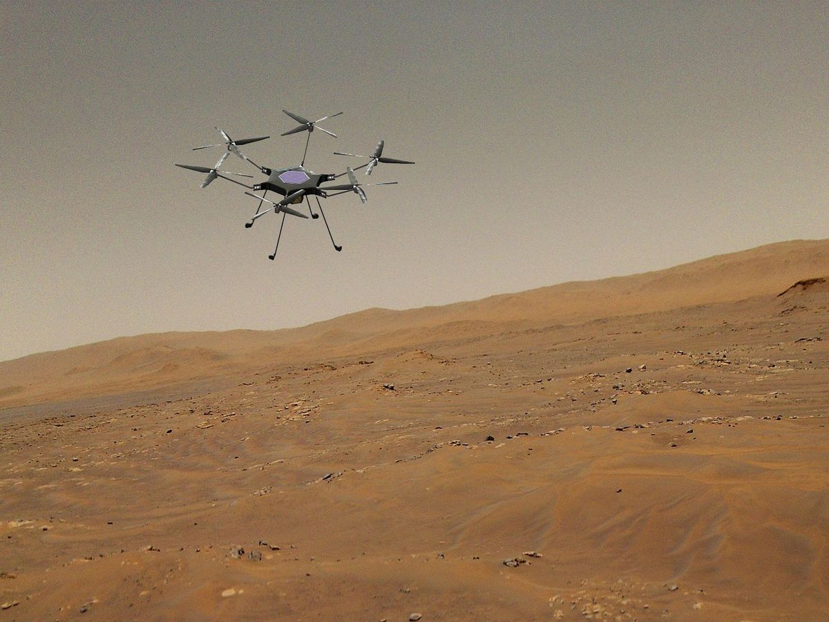 An artist's impression of a hexagonal drone with six propellers and spindly legs flying above a red desert